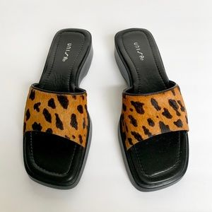 UNISA Leopard Calf Hair Mules
